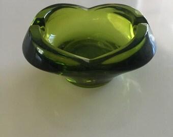 Vintage Dark Green Small Glass Ashtray