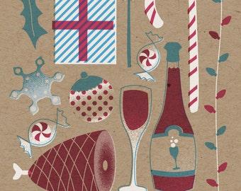 "Tis the Season Holiday Print - 8"" x 10"" Art Print on 100# French Speckletone Kraft Cover, Vintage-Inspired"