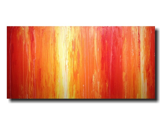 Original Large Abstract painting  24 X 48 Inches-by Artist JMJartstudio-Saturation-Wall art-wall decor - Orange painting-Oil painting