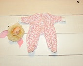 Floral Patterned Footed Sleeper - 12 inch doll clotheas