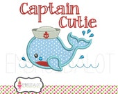 Cute sailor applique. Sailor embroidery download. Whale machine embroidery design. Summer applique. Beach applique. Cute whale applique.