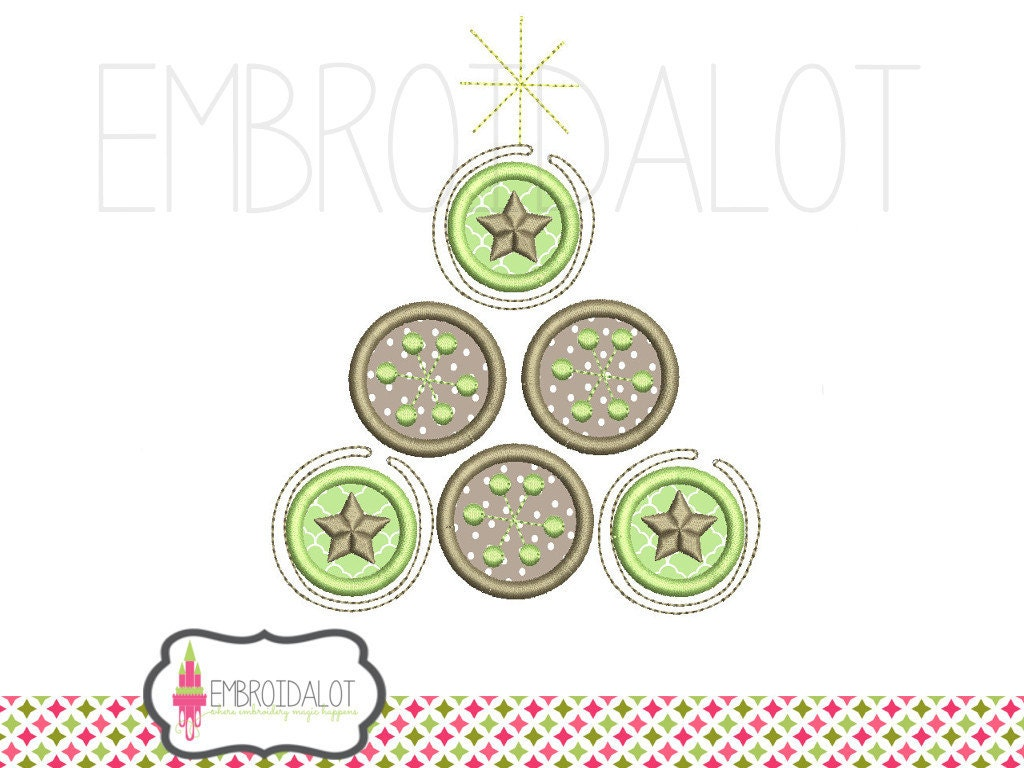 Christmas tree applique embroidery design modern style