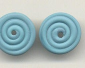 Tom's lampwork opaque satin (etchhed) marina turquoise blue 2 disc spacer set, 1 pair 96467
