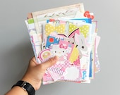 100g or 60 pieces and more scrap kitsch japanese clipping sario stationery paper note sheet and envelopes