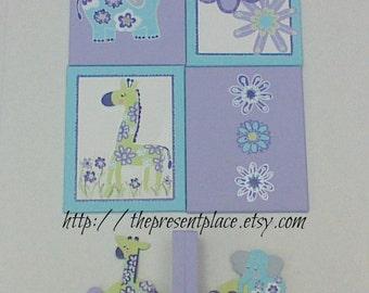 Personalized girl gift set,girly jungle,jungle painting,giraffe,elephant,purple jungle,girly jungle decor,girls bookends,nursery art,