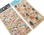 Cute Pandas or Cats Craft Paper sheet of Stickers at your choice for scrapbooking, gift message, Bookmark, Packaging, Party favor