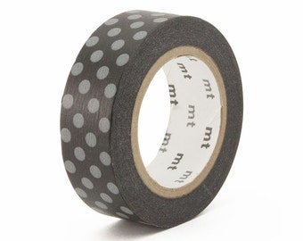 MT 2016 S/S - Japanese Washi Masking Tape / Gray Polka Dots on Black for packaging, party deco, card making