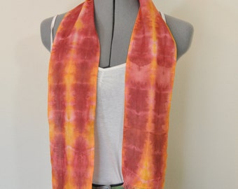 """Red Yellow Cotton Linen SCARF - Garnet Gold Hand Dyed Tie Dye Hand Made Linen Cotton Scarf #156 - 5 x 46"""""""