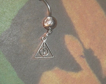 Harry Potter Deathly Hallows CZ Belly Naval Ring