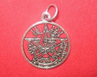 Pewter 23mm Tetragrammaton Wiccan Pagan Pentagram Star Pendant Necklace