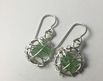Seaglass and sterling earrings