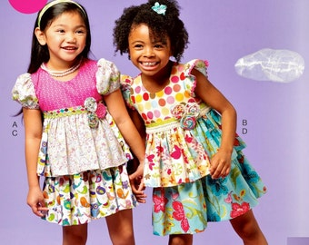 Little Girls' Skirt and Top Pattern, Pieced Top and Skirt Pattern, McCall's Sewing Pattern 6688