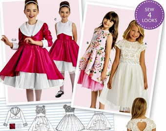 Girls' Dress Pattern, Girls' Special Occasion Dress Pattern, Girls' Dress and Lined Jacket Pattern, Simplicity Sewing Pattern 8283