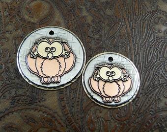 Owl ID Dog Tag, Keychain Fob, Personalized Luggage ID Tag