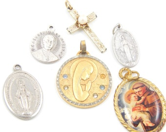 Vintage Catholic Medal Lot Saint Anthony - Miraculous Medal - Virgin Mary - Eugenius de Mazenod - Christian Cross - Religious Charms - R68