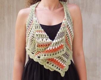 Boho vest, crochet vest, boho bolero, crochet wrap, lace wrap, stripy vest, pastel vest, urban women, OOAK, urban boho, bolero vest, boho