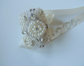 Bridal Bouquet Jewelry Crystal Beaded Embellishment Wrap