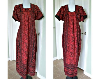 Vintage 80s black and red kaftan - hippie- boho - all cotton - african hippie print
