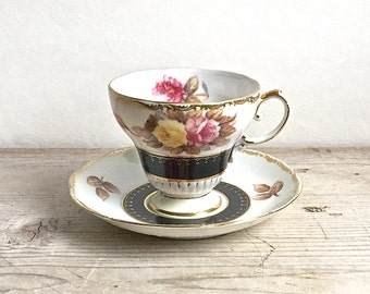 Shafford Tea Cup Floral Hand Painted Roses Black Band Gold Trim