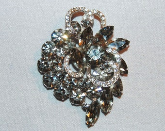 Vintage / Weiss / Black Diamonds / Large / Brooch / Clear / Sparkling / Rhinestones / designer / signed / old jewelry jewellery