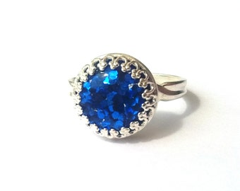 Sapphire Blue Glitter Ring, Sterling Silver Ring, Glitter Cabochon, Blue Ring, Sparkle Ring, More Colours, or Choose Gold, Rose Gold