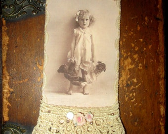 Vintage Lace Collage Sweet Girl with her Teddy Bear and Doll Embellished Tag