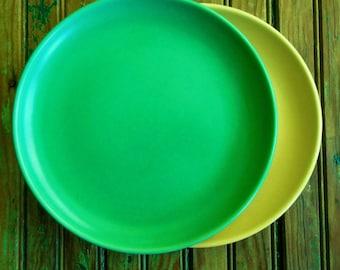 2 Vintage California Padre Plates  #401 Green & Straw Yellow