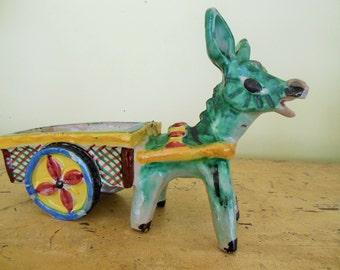 "Vintage Donkey & Cart Pottery Planter, Italy, 10"""