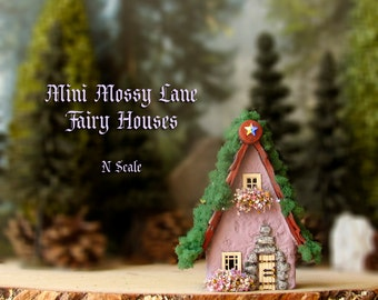 The MINI Fairy Houses of Mossy Lane - Handcrafted Chalet Style N Scale Cottage in Lilac Purple w/ Mossy Roof, Flower Boxes and Wooden Door