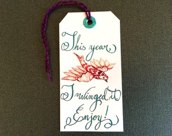 Bird Holiday Gift Tag Hand-Lettered with Aqua Calligraphy, Purple Tie, White Paper