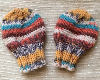 Newborn Mittens - Hand Knit - Infant Mittens - THUMBLESS Mittens - Baby Mittens - Machine Washable -  Yellow, Turquoise, Orange, White, Grey
