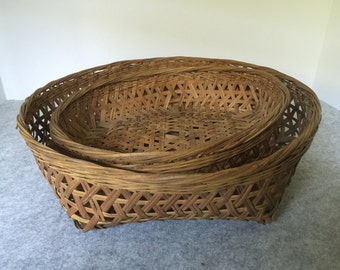 Pair of Vintage Asian Style Baskets