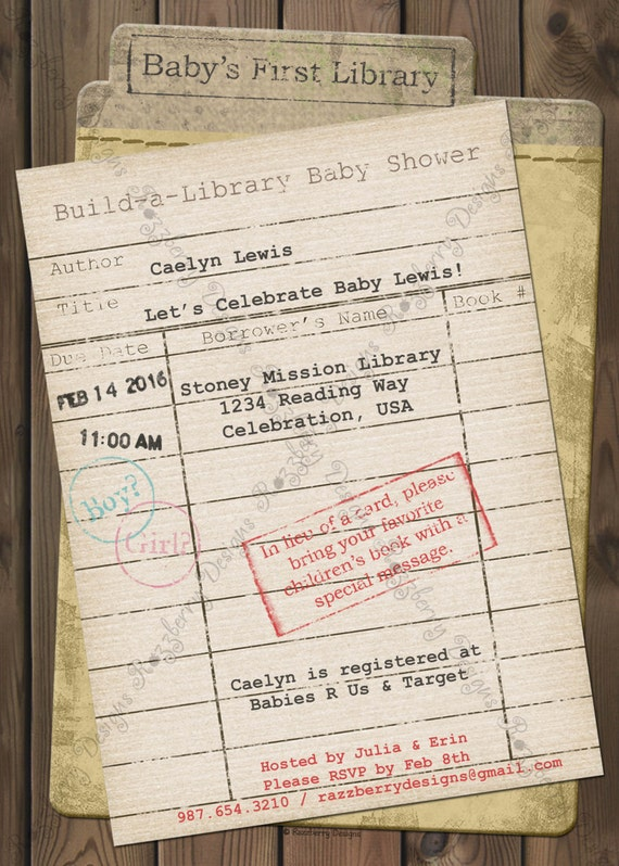 Library Card Baby Shower Invitation Book Baby Shower Invite