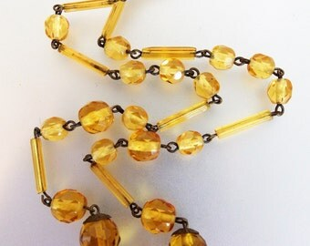 Pretty Vintage 1930's Art Deco Faceted Amber Czech Glass Tube Bead Necklace