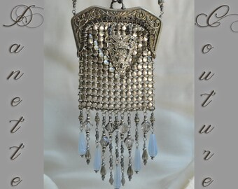 Miss Money Bags / One of a Kind Chain Mail Mesh Coin Purse Silver Toned Metal Beaded Flapper Bag Wristlet