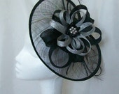 Black Sinamay Saucer Curl Feather and Metallic Silver Pearl Cecily Formal Wedding Derby Ascot Fascinator Hat   Made to Order