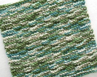Knit Dishcloth, Cotton Washcloth, Hand Knit Dishcloth, Knitted Washcloth, Blue Green Dishcloth