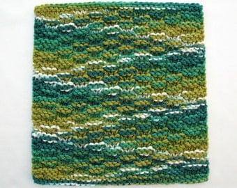 Knit Dishcloth Cotton Dishcloth Kitchen Washcloth Jade Green Kitchen Decor
