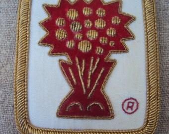 Vintage Hand Embroidered Gold Bullion Emblem Metallic Thread Patch Insignia Registered Trademark  Flower Vase Tree Wheat Sheath Design