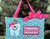 Personalized Pastel Dots Chevron, Tooth Fairy Pillow-----SHIPS NEXT DAY