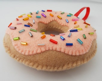 Orange Cream Donut Ornament With Sprinkles