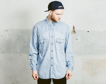 Vintage LEVIS Denim Shirt . 1990s Men's Blue Button Up Chambray Shirt 90s Grunge Jacket Overshirt Boyfriend Normcore Gift . Large XL XXL