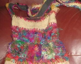 Vintage hippie boho hemp shoulder bag