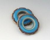 Rustic Ruffle Discs - (2) Handmade Lampwork Beads - Aqua
