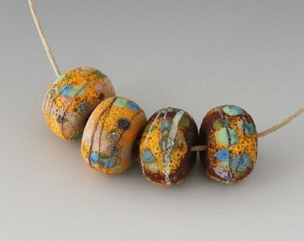 Rustic Sedona Nuggets- (4) Handmade Lampwork Beads -  Red Brown, Yellow