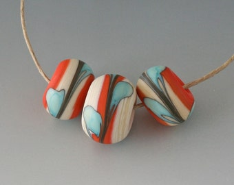 Southwest BHB Set - (3) Handmade Lampwork Beads - Coral, Mint - Matte, Etched