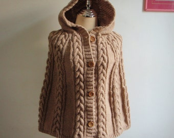 Kniting Light Brown with Hood