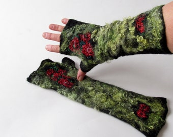 Felted Mittens, Black fingerless gloves , felt  gloves, Floral mitts, Wool warm mittens,  Red poppy flower,  by Galafilc  -  Black red Poppy