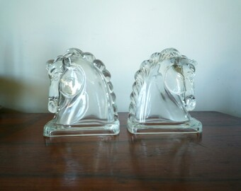 Pair Art Deco Horse Head Bookends Clear Federal Glass, SALE