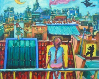 Untitled10 -Whimsical Girl Painting Fine Art Print, Rooftop, Night, European Cityscape, Blue, Pastel, Fairytale, Fantasy, Magical, Music